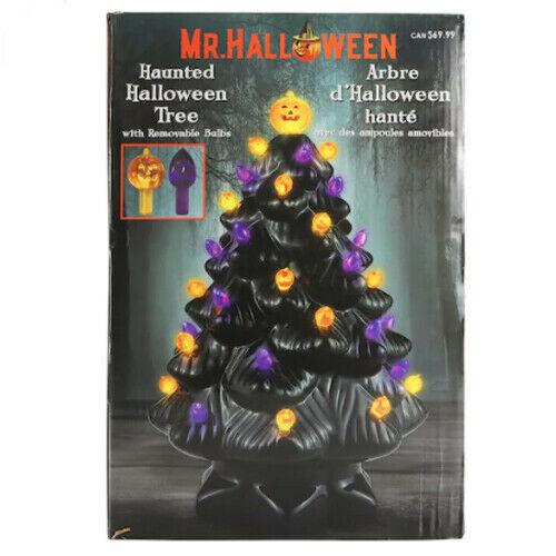 """Mr. Halloween Ceramic Tree Black 14"""" New Haunted LED Lighted Mr. Christmas - $79.44"""