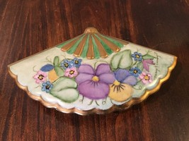 "Beautiful SIGNED & DATED ""Mary Kinney '81 Hand Painted Porcelain Fan Jew... - $13.55"