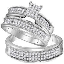 10k White Gold His Hers Round Diamond Cluster Matching Bridal Wedding Ring Set  - $799.00
