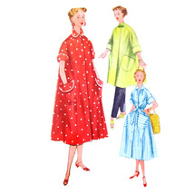 1950s Vintage Simplicity Sewing Pattern 4471 Misses Easy Robe House Dres... - $8.95