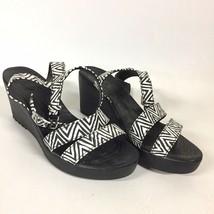 Crocs Black Wedge Sandals Cloth Ankle Strap White Black Chevron Comfort Womens 9 - $18.99