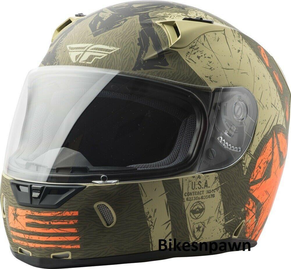 XL Fly Racing Revolt Liberator Motorcycle Helmet Matte Brown/Orange DOT & Snell