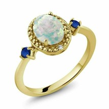 2.20Ct Oval Cut Fire Opal & Sapphire Engagement Ring 14K Yellow Gold Finish - $102.95