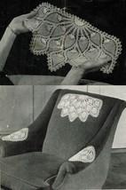 1942 Tablecloths Bedspreads Butterfly Pineapple Chair Set Crochet Knit P... - $14.99