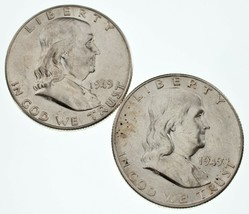 Lot of 2 Franklin Half Dollars (1949 & 1949-S) in AU Condition, Nice Luster - $57.16