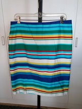 Talbots Ladies Striped Pencil SKIRT-12P-FULLY LINED-100% COTTON-NWT-$99 Orig. - $17.99
