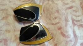 Vtg BEREBI Huge Gold Tone black silver yellow Enamel Earrings Designer R... - $12.86