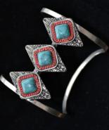 Wide silver bracelet, wide cuff bracelet, tribal bracelet, turquoise (B157) - $12.99
