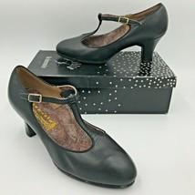 Vintage Capezio Custom Theatrical Dance Shoes size 7.5M Black T Strap w Box A4 - $29.95