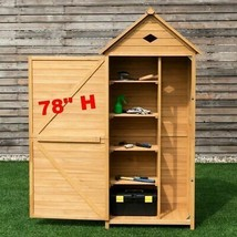 Outdoor Storage Shed Tall Cabinet Patio Farm Garden Toolshed Organizer W... - $350.54