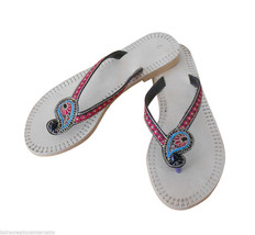 Women Slippers Indian Handmade Traditional Flip-Flops Cream US 8.5  - $24.99