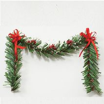 Dollhouse Christmas Fireplace Swag - Garland Red & White mul4283 Miniature - $8.50