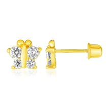 14k Yellow Gold Lovely Simple Eye-Catching Butterfly Childrens Earrings - $79.04