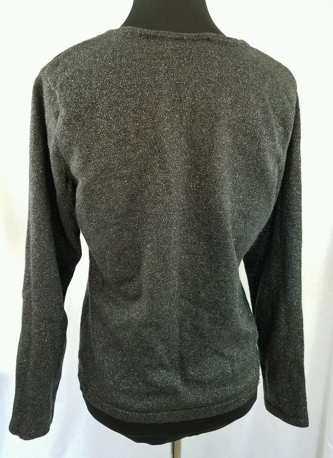 Black Knit Top With Silver Flecks Adds Shimmer Holiday Top Talbots Size Med