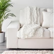 Ikea Ofelia Blanket White Textured Ruched Ruffled Sheer Decor 51x67 In 301.396.2 - $49.99