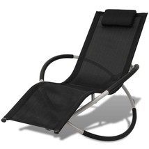 vidaXL Sun Lounger Steel Textilene Folding Recliner Garden Patio Chaise ... - $81.99