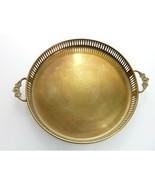 Vintage Round Brass Serving Dresser Tray Reticulated Flowered Handles  - $34.99