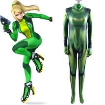 Metroid Samus Aran Green Jumpsuit Bodysuit Halloween Cosplay Costume - $55.89