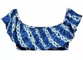 Victoria's Secret Off The Shoulder Ruffle Flounce Crop Bikini Top Tie Dye M NEW - $17.13