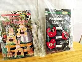 Bunny Egg Magnets, Apple Photo Frame Plastic Canvas Kit ,House Of White Birches - $14.44