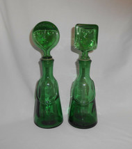 Erik Hoglund Green Glass Decanter Face Stopper Kosta Boda Pair Male Female - $285.00