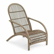 Rustic Cozy Cottage Boho Natural Finish Wicker Adirondack Style Patio Chair image 2
