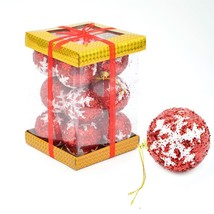 12 Red Glitter Christmas Tree Decorations Baubles Soft Foam Xmas Home Decor - $7.71