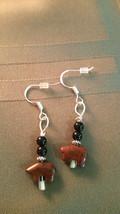 Vintage Small  Bear Jasper Earrings 925 Sliver Healing Meditation B Vale... - $9.89