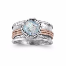 .925 Sterling Silver Two Tone Roman Glass Spin Women's Ring - $173.61