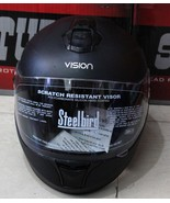 VISION STEEL BIRD HELMET BLACK MATT FINE POLY CARBONATE HEAD PROTECTIVE ... - $59.37