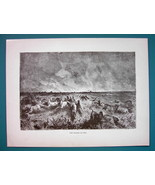 AMERICAN WEST Prairie on Fire - 1866 Gustave Dore Antique Print  - $16.20