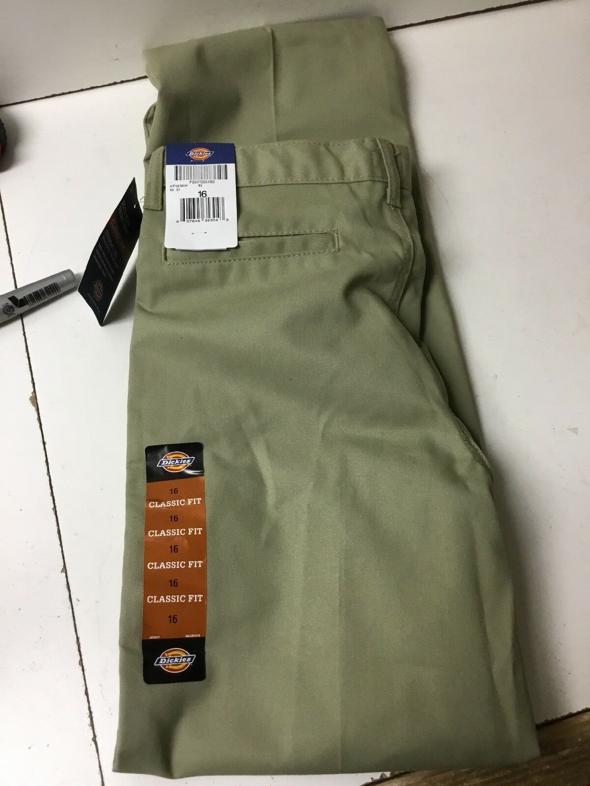 Primary image for Boys' DICKIES FLEX Beige Classic Fit Flat Front Khaki Pants Size 16 NWT