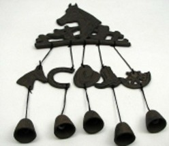 "Horse Head Wind Chimes Chime Bells Boots Saddles Hats Horseshoes 18 3/4""... - $39.55"
