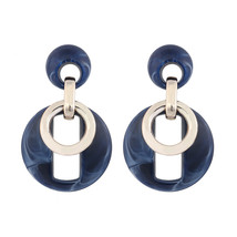 New Round Acrylic Drop For Girls Trendy Hollow Alloy Pendant Earrings Fo... - $7.90