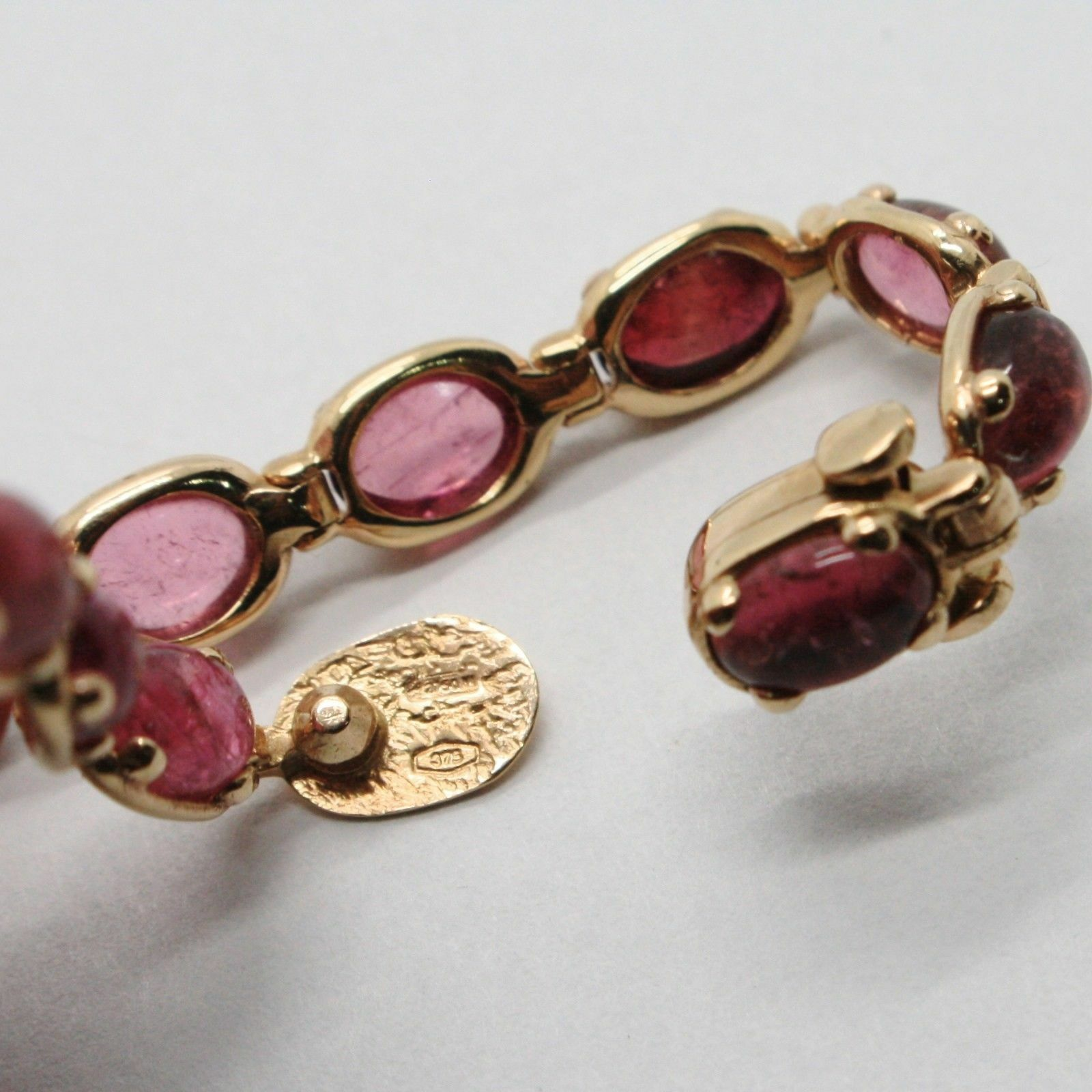 Bracelet Gold Pink 9k Type Tennis with Tourmaline Pink, Made in Italy image 5