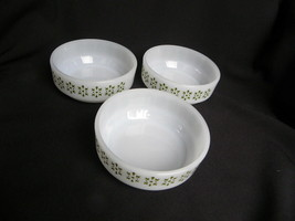 3 Vintage Pyrex? Ovenware Milk Glass Cereal Bowls w/Avocado Green Decora... - $12.99
