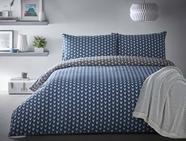ARROW HEAD CHEVRON BLUE GREY PIPED 100% COTTON DOUBLE 6 PIECE BEDDING SET - $96.26