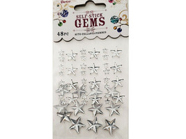 Darice Self-Adhesive Various Sizes Dimensional Stickers, Clear Stars #1210-61