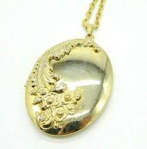 Pcraft Art Nouveau Style Photo Locket Gold Tone Pendant Necklace Vintage... - $19.79