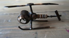 "Handmade Folk Art Spark Plug Man Cave Art Helicopter 5"" - $21.78"