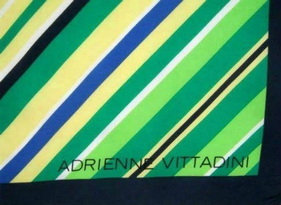 Adrienne Vittadini 100% Silk Scarf Square - Green & Blue Diagonal Stripe