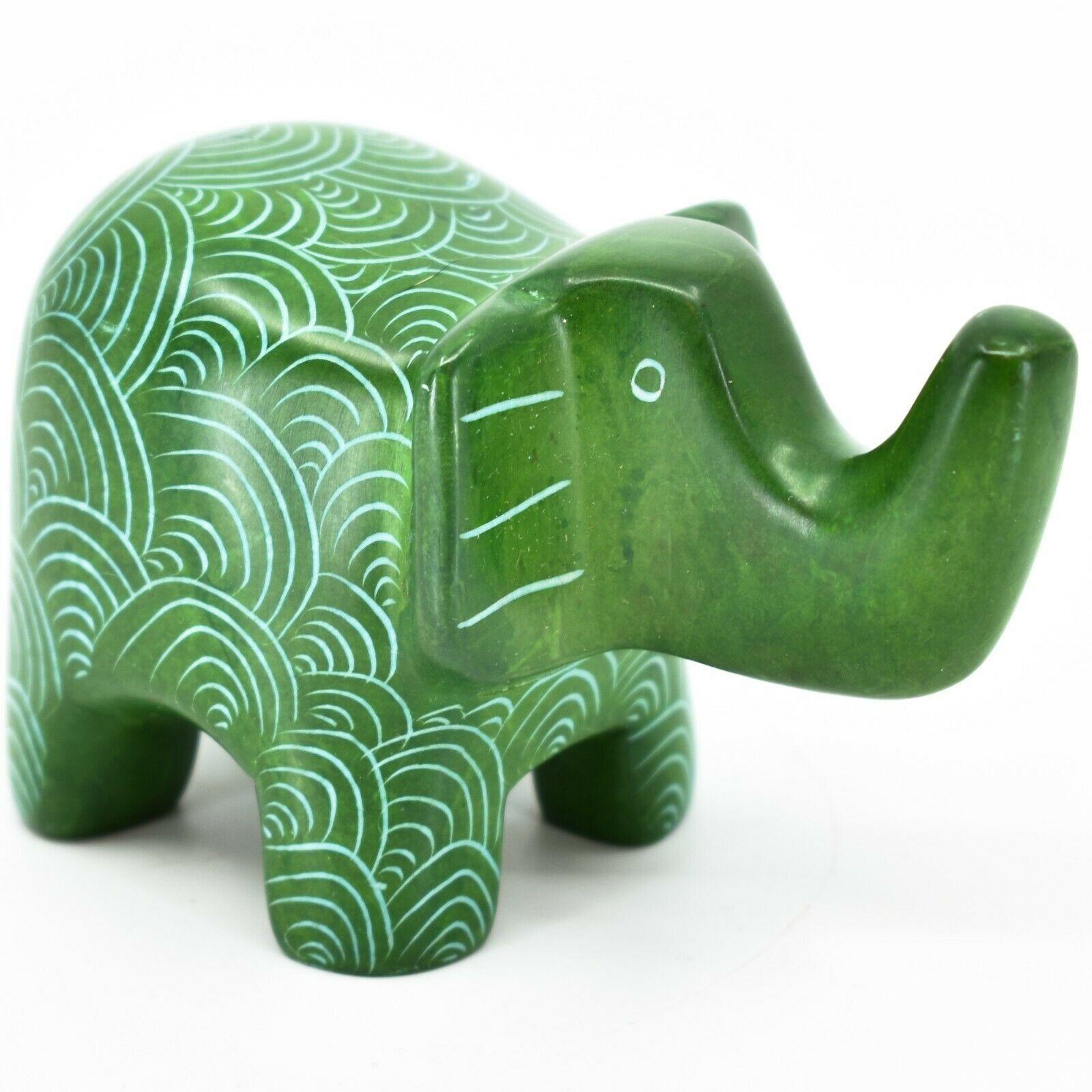 Vaneal Group Hand Crafted Kisii Soapstone Green Elephant Figurine Made in Kenya