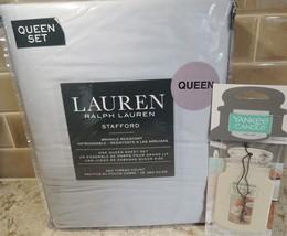 Ralph Lauren Stafford Four Pc Queen Sheet Set Blue Gray 350 Thread Count... - $88.61