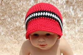 New Handmade Red Knit Baby Brimmed Hat Cap Newsboy Cap Newborn Photo Pro... - $6.99
