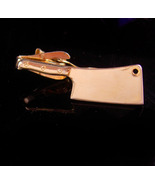 Vintage gold meat cleaver tie clip - butcher gift cook gift - chef tie c... - $95.00