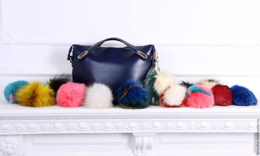 Real Fur Bag Charm/Fur Keychain/Fur Pom Pom/Fur Ball Red and White