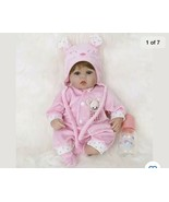 16 inch reborn baby girl with accessories 3/4 Soft Silicone Vinyl - $78.21