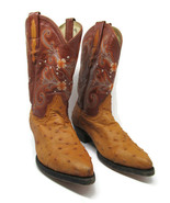 Rodeo Bravo Womens Tan And Brown Ostrich Boots Size US 8.5 Mex 24.5 - $64.24