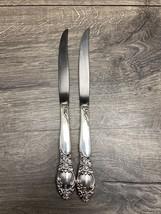 2 International silver Orleans deep silver Plate Steak Knife Floral - $19.99