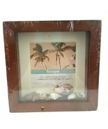 Escape Matted Photo Frame with Sea Shells Brown Wooden NWT Holds 5.5 X 5... - $13.09